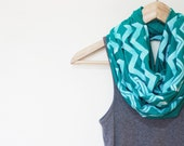 INFINITY SCARF - Screen Printed - White Chevron on Teal