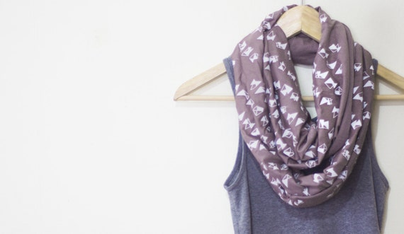 INFINITY SCARF - Screen Printed - White Triangles on Taupe