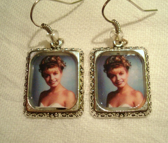 Laura Palmer Homecoming Queen photo earrings. Inspired by Twin Peaks.