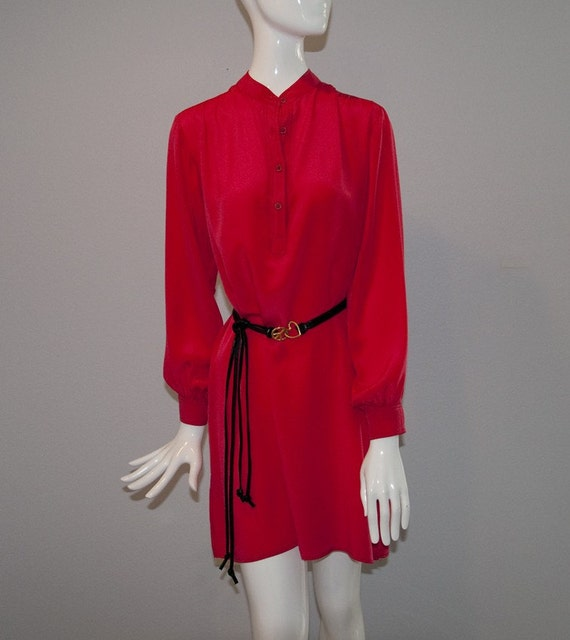 1978 Designer Red Silk Tunic Blouse (XS, S)