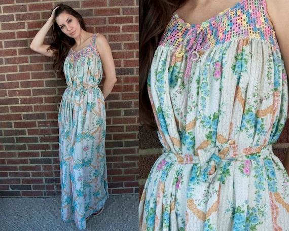 60s Vintage Rainbow Crochet Boho Maxi Dress (XS, S)