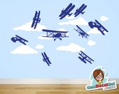Airplanes & Clouds - Vinyl Wall Decal