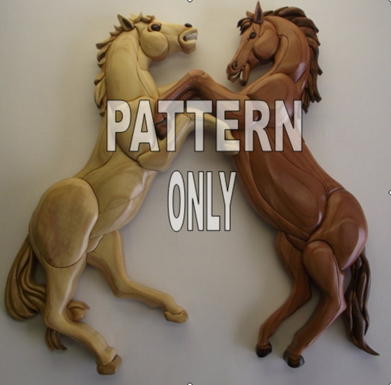 Pattern of 'Horses in Conflict'' Intarsia
