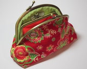 Red Floral Coin Purse Wallet Clutch Yellow Olive Green Cotton Antique Brass Gold Metal Frame Double Pockets