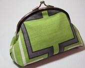 Green Geometric Coin Purse Wallet Clutch Ivory White Slate Grey Abstract Cotton Dark Pink Silk Kiss Lock Pocket