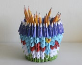 Pencil Holder / Housewarming / First Anniversary Gift/ Unique Gift / Anniversary Gifts / Origami / One Year Anniversary / Paper Anniversary