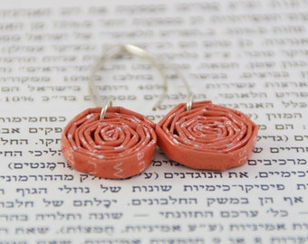 Paper Earrings / Spiral Jewelery / Spiral Earrings / Unique Earrings / Gift For Her Paper / First Anniversary Gift / Paper Beads Earrings /