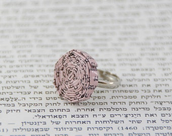 Paper Ring / Pink Ring / Adjustable Ring / Spiral Jewelery / Unique Ring For Her / Gift For Her Paper / First Anniversary Gift /
