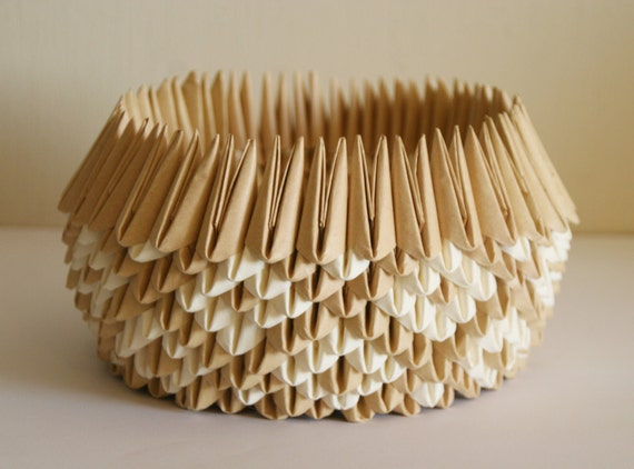FREE SHIPPING: Gift idea - Origami Paper Bowl, natural look, for housewarming, hostess, holiday