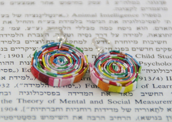 FREE SHIPPING: Paper beads earrings - a pair of colorful beads made of quality paper, hang from fine sterling silver wire