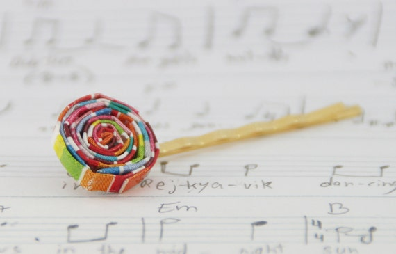 FREE SHIPPING: Golden hair pin with colorful paper spiral, girls hair clip