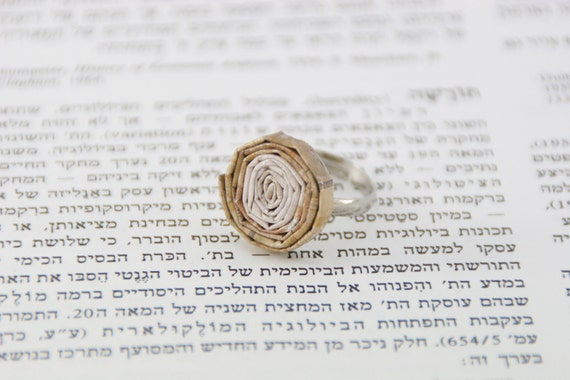 15% Spring Sale: Silver ring with white and brown paper spiral on top, for women and teens