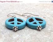 On Sale Blue Peace Earrings Sterling Silver