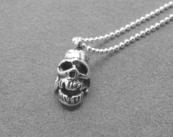 Skull Necklace, Movable Skull Pendant, Skull Jewelry, Skeleton Necklace, Charm Necklace, Sterling Silver Jewelry, Skull