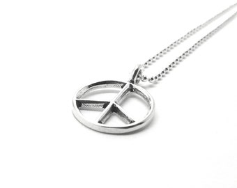 Sterling Silver Large Peace Sign Necklace, Large Peace Necklace, Peace Jewelry, Large Peace Sign Pendant, Sterling Silver Jewelry