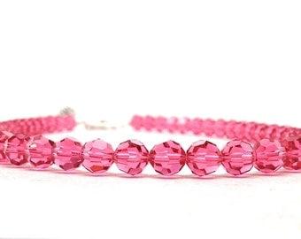 Pink Beaded Necklace, Pink Necklace, Pink Beaded Choker, Rose Pink Swarovski Crystal Necklace, Swarovski Crystal Jewelry, Strand Necklace