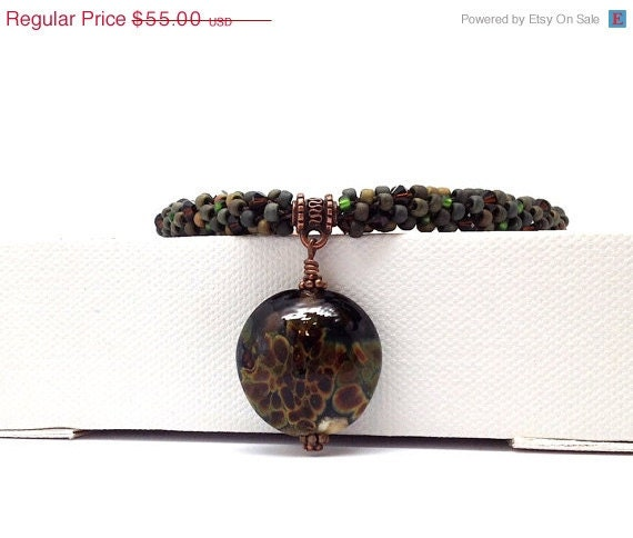 On Sale Beaded Kumihimo Necklace:  Brown, Green, and Copper