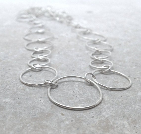 Long Chain Necklace, Circles, Sterling Silver