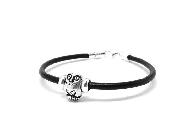 Owl Bracelet, Black Leather, Sterling Silver Jewelry