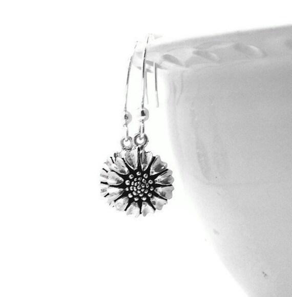 Sunflower Earrings, Sterling Silver