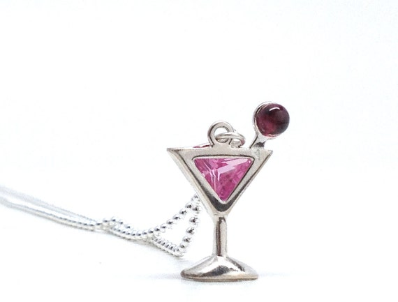 Martini Necklace, Cosmopolitan, Pink, Sterling Silver