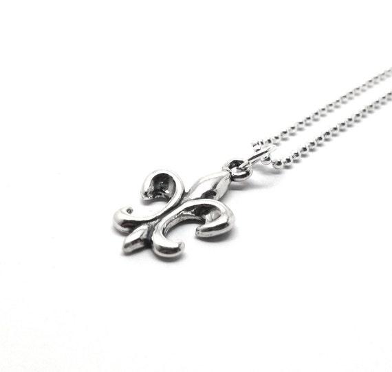 Sterling Silver Fleur de Lis Necklace, Fleur de Lis Jewelry, Fleur de Lis Pendant, Charm Necklace,Sterling Silver Jewelry