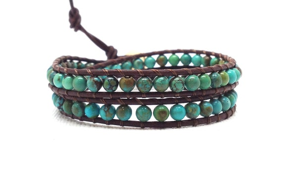 Wrap Bracelet, Turquoise, Double, Brown Leather