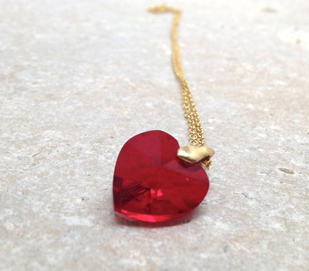 Red Heart Necklace Gold Swarovski Crystal