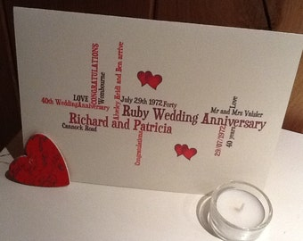 Ruby Wedding Anniversary, Designed for you, Free Personalization, Free Shipping
