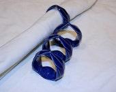 Blue handmade porcelain napkin rings - Set of 4