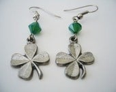 The Charmed Ones // clover shamrock sterling silver pewter charm hook earrings