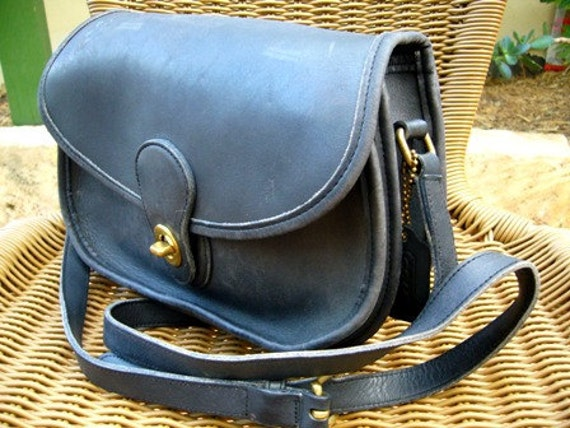 SALE 25 dollars OFF // Wholesome Pretty // vintage Coach navy crescent leather saddle bag