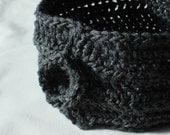 Crochet Neckwarmer in Grey Merino Wool Blend with Crochet Button Closure - CLEARANCE 30% OFF