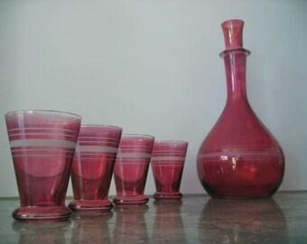SALE vintage 1950s CRANBERRY GLASS decanter glasses (4) etched glass