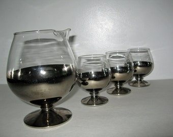 SALE vintage 1960s cognac glasses pitcher Mercury glass snifter set