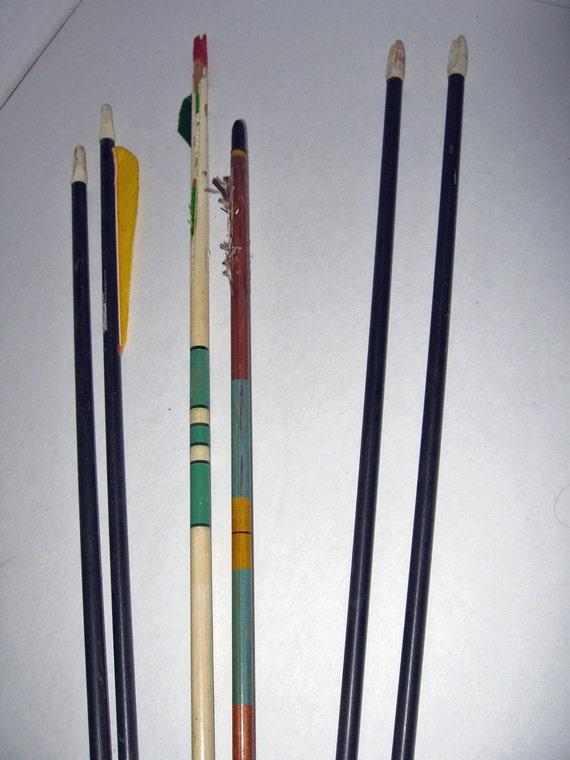 vintage arrows Mid Century wooden striped shafts Dura- Flite
