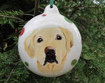 Pet Portrait Ornament Custom Hand Painted Ceramic Ornament Personalized Dog Ornament Cat Ornament