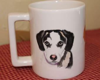 Pet Portrait Mug Hand Painted Custom Pet Portrait Ceramic Coffee Mug Dog Lover Cat Lover Gift