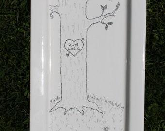 Wedding Platter Custom Hand Painted Ceramic Wedding Platter Tray Anniversary Platter Signature Platter