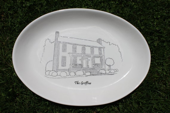 Custom hand painted platter of your home Great Housewarming Gift