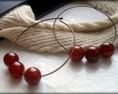 Rustic and Feminine Tangerine/Orange/Cream Bead Hoop Earrings  Amra Designs