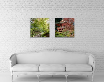 Tea Garden Duet - San Francisco - forest and pagoda - red, green, taupe - Home Decor, Corporate Art, Spa Art