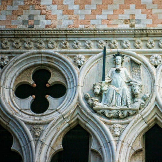 Passion for Justice II - Venice, Italy - Fine art travel photography - architecture - Bas relief - pearl grey, terracotta