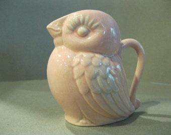 vintage 40s Pink and Blue Bird Ceramic Creamer Pitcher