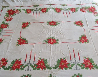 1970s Vintage Christmas Tablecloth Pointsettas Candles Holly