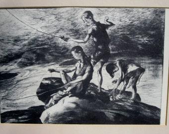 1939 Vintage Litho Fisherman Three by John E Costigan Black and White