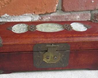 Vintage Rosewood with Jade Inlay Jewelry Box SHANGHAI