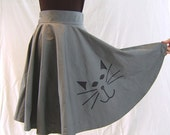 Cat-faced bias skirt