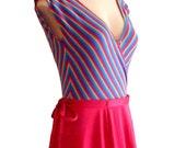 Beautiful Fuchsia Pink Rainbow 70s Bohemian Bodysuit and Skirt SET great yoga work out top