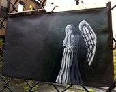 Dr Who's Weeping Angel: Upcycled hand painted vintage leather Etra clutch purse